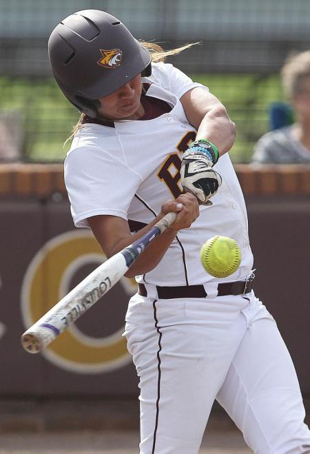 Pearl River's Dani Barton belts one of her two base hits in the Lady Wildcats' nine-inning 7-3 loss