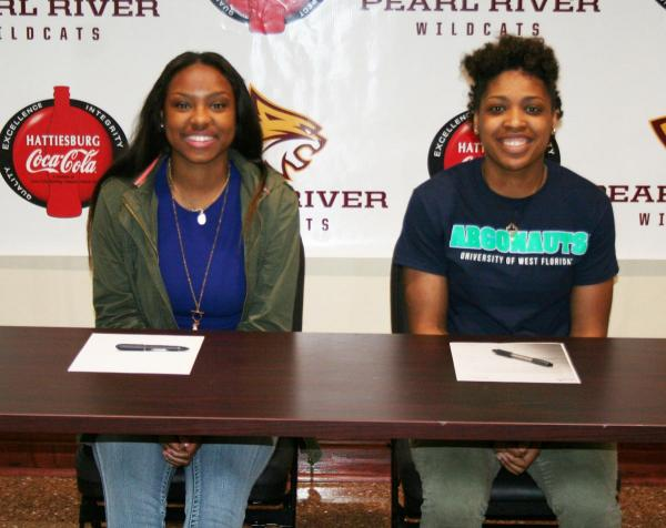 Pearl River sophomores Asia Thibodeaux (left) and Shaniqua Magee (right)