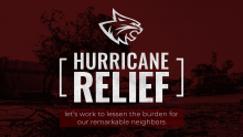 Wildcat head over text of Hurricane Relief let's work to lessen the burden for our remarkable neighbors