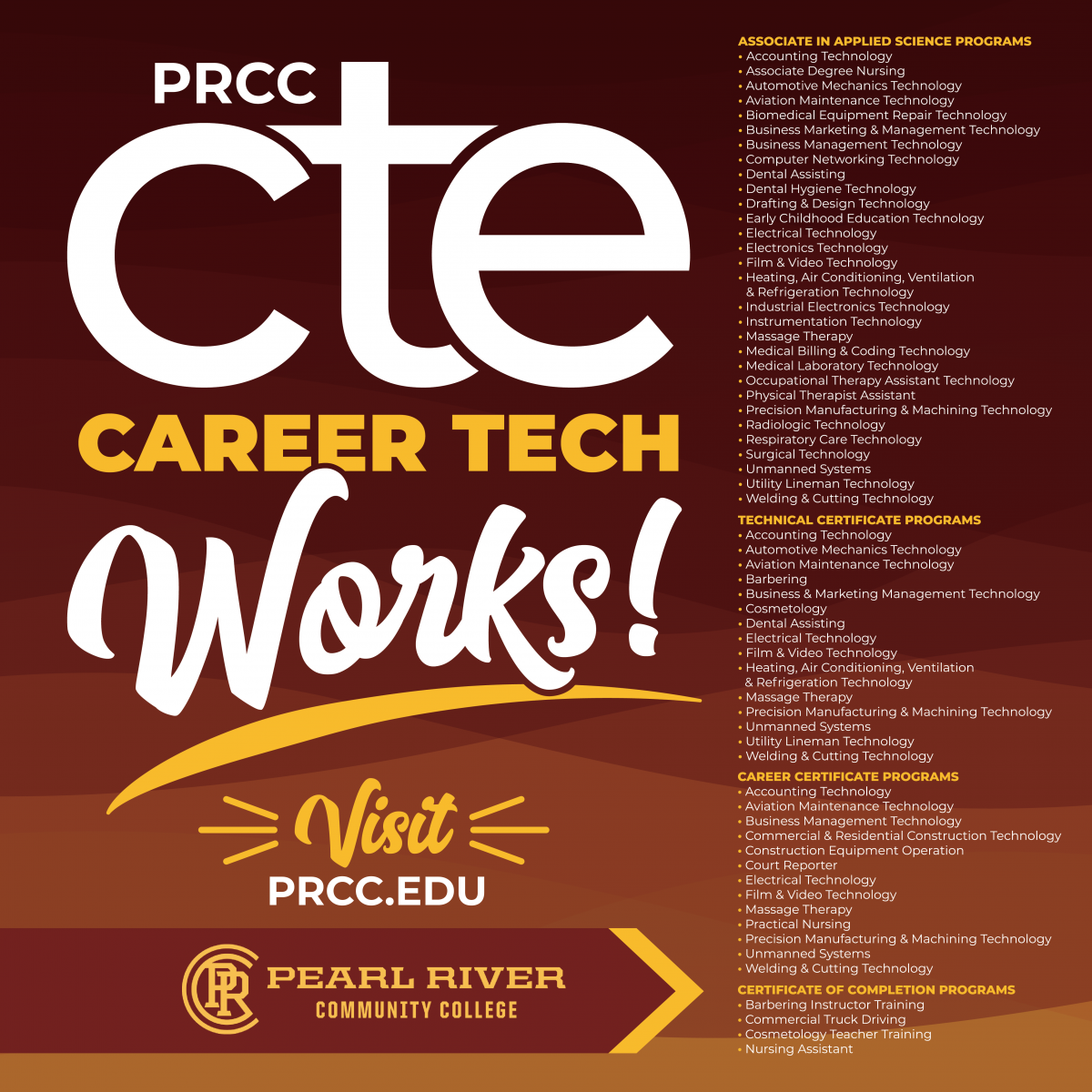 List of all Career Tech Programs at PRCC as of July 2021